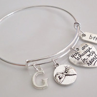 BFF Pinky promise bangle bracelet, You're always in my heart bracelet, best friend bracelet, Monogram initial name bracelet Gift