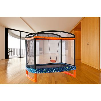 "72"" x 50"" Rectangular Indoor/Outdoor Trampoline Combo with Swing"