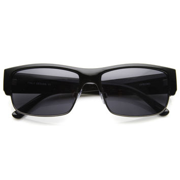 Mens Premium Half Frame Performance Rectangle Sunglasses 8869