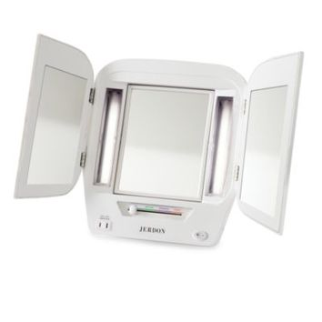 Jerdon Tri-Fold Lighted Magnification Mirror