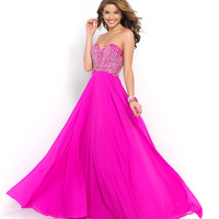 Magenta Pink Strapless Beaded Sweetheart Chiffon Gown
