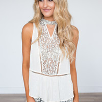 Floral Lace Sleeveless Top - Cream
