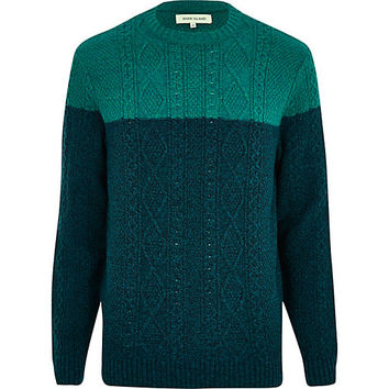 River Island MensGreen cable knit color block sweater