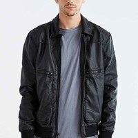 Charles & 1/2 Patch Pocket Faux Leather Flight Jacket- Black