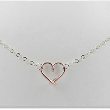 FREE SHIPPING!!!  Floating Heart Rose Gold Color Wire Pendant Necklace