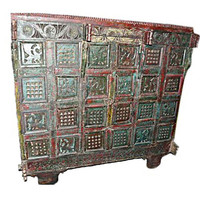 Antique Vintage India Boho Rustic Red Green Tribal Patina Carved Wooden Furniture