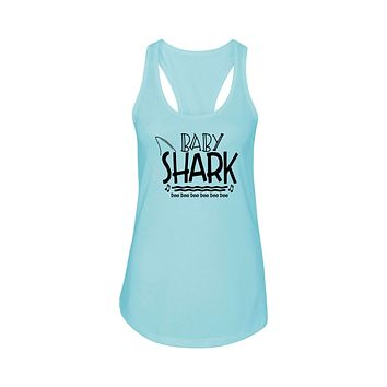 Shark Family Cotton Blend Racerback Tank By Pink Box - Baby Shark