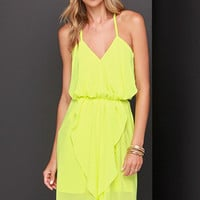 Casual Yellow Spaghetti Strap Asymmetrical Flounce Mini Dress