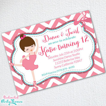 Printed Ballerina Invitation - Ballerina Birthday Party Invitations
