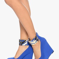 Cobalt Blue All Cuffed Up Metallic Cuff Wedge | $12.50 | Cheap Trendy Wedges Chic Discount Fashion