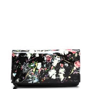 McQ by Alexander Mcqueen Patent Floral Print Fold Clutch