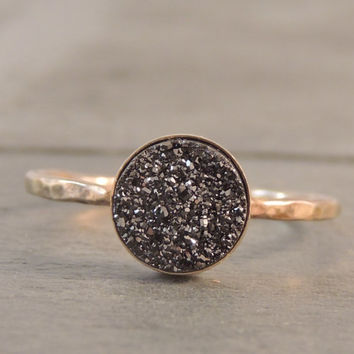 Druzy Black Sparkle Quartz Druzy Gold Ring. Druzy Stacking Ring with Ring Band Options. Sparkly Layer Ring. Eye catching. Made to order