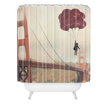Maybe Sparrow Photography Floating Over The Golden Gate Shower Curtain