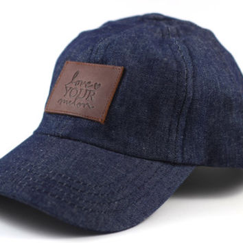 Dark Denim Leather Patched Cap - Love Your Melon