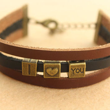 monogram bracelet--I LOVE YOU charm ,antique bronze beads bracelet,flat black&brown leather three layers bracelet,friendship gift