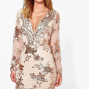 Boutique Fi Sequin Print Mesh Bodycon Dress | Boohoo