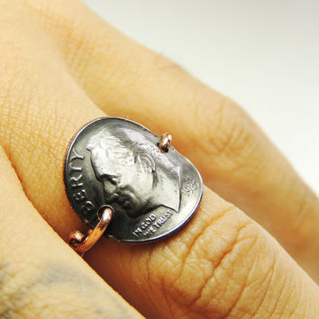 Coin Ring- custom size real dime rusty ring copper wire- coin