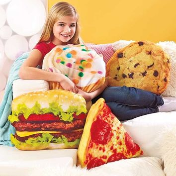 Novelty Food Pillow Hamburger Pizza Cookie Cupcake Plush Fight Toss Cuddle Gift