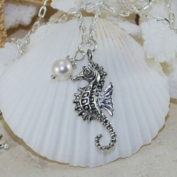 Seahorse & Pearl Pendant Necklace~ Sterling Silver~Pearl Necklace~Beach Wedding~Bridesmaids~Sea Horse~ Nautical~Gift