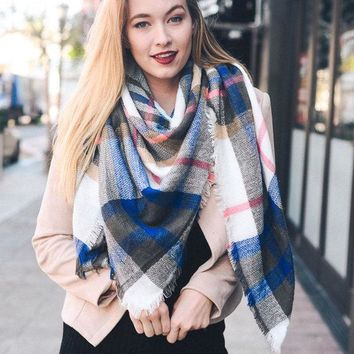 Plaid Blanket Scarf - White/Blue/Pink