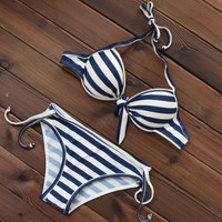 Sexy Navy Striped Pattern Push up Bikini Swimsuits Two Pieces