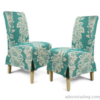 Blue Floral Fabric Upholstery Dining Chairs with Skirt