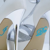 Wedding Rhinestone I Do Shoe Applique Stickers - Blue