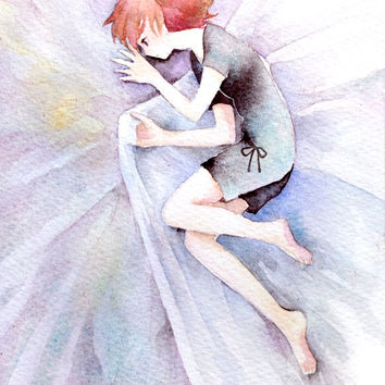 "Original Watercolor Painting  5x7 ""醒めている""  a state of being conscious  - Original picture,girl illustration,fantasy illustration"