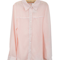 Pink Chiffon Long Sleeve Pointed Flat Collar Blouse