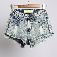 Irregular hole denim high waist pants shorts AT0112C