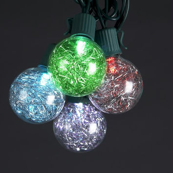 Multi-color G40 Tinsel Christmas Lights - 10 Color Changing Bulbs On Green Wire