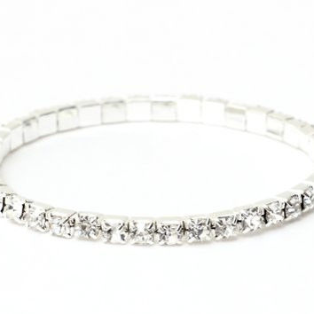 Single Crystal Strand Bracelet Gems Silver Tone BB27 Sparkle Bling Stretch Wrist Cuff Fashion Jewelry