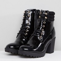 River Island Chunky Heel Zip Back Heeled Boots at asos.com