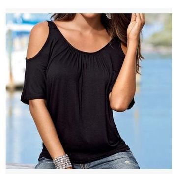 Women Blouse 2018 New Fashion Sexy Short Sleeve Cold Shoulder Top Casual Shirt Black White Red Blue