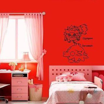 Wall Stickers Vinyl Decal Pokemon Zigzagoon Anime Cartoon Kids Nursery (ig1108)