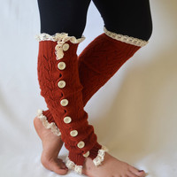 Leg warmers- slouchy open button down lace leg warmers knit lace leg warmers boot socks christmas gifts