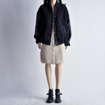 oversized navy wool and black leather VARSITY jacket / m / l