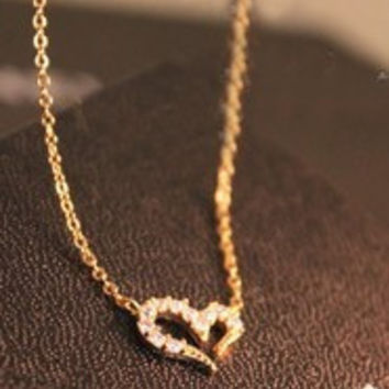 Beautiful Heart necklace Wishing love Mischa Barton most free shipping XL161