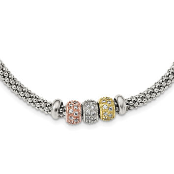 Sterling Silver Rose And Yellow Gold Tone CZ Beads Mesh Necklace QG3848