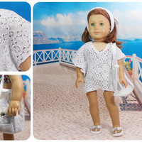 "18"" American Girl Dolls 2 PC Swimsuit Coverup, Butterfly Beach Dress and Headband Optional Beach Bag"