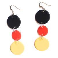 National flag earrings, colours of the world, counters, sterling silver, silver loops, game counters, flag colours