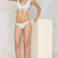 Nasty Gal Alina Mix & Match Cutout Bikini Top - Baby Blue