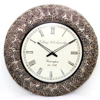 Aakashi Silver Block Carving Wall Clock