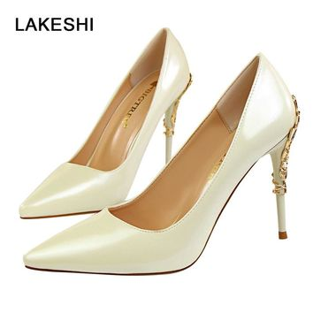Stiletto High Heels Women Pumps 2017 New Fashion Sexy Ladies Shoes Thin Heels Prom White