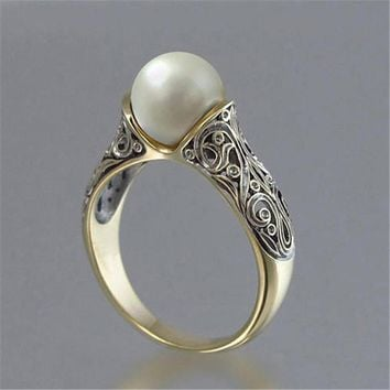 Modyle Gold Color Punk Vintage Flower Big Simulated Pearl Ring for Woman Dropshipping