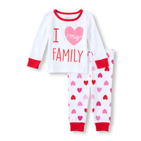 Baby Girl's Long Sleeve 'I Love My Family' Top And Heart Print Pants PJ Set | The Children's Place