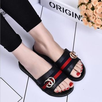 Perfect GUCCI Fashion Women Sandal Slipper flat Shoes- SALE