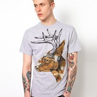 Rook T-Shirt Camo Deer at asos.com