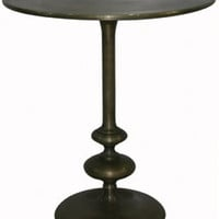apex round side table in matte brass - turned base - ABC Carpet & Home