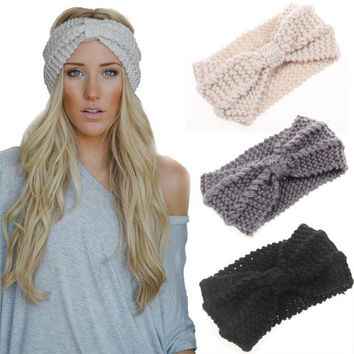 9 Colors Headband Crochet Knit Hairband Winter Flower Women Ear Warmer Headwrap